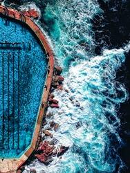 Aerial view of Bronte Ocean Pool in Sydney, New South Wales Australia