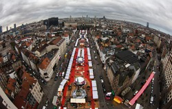 Aerial view of Brussels Winter Fair in Place Saint Catherine on December 1, 2015 in Brussels. Photo taken with a fish-eye lens.