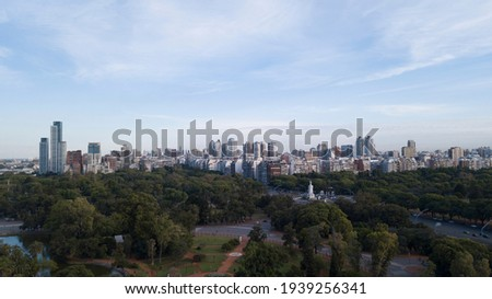 Aerial view of Buenos Aires Skyline, with Bosques de Palermo Park and Monument to the Carta Magna Foto stock ©