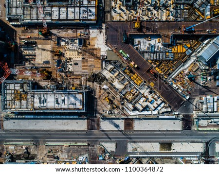 Aerial view of building construction site. Daytime. #1100364872