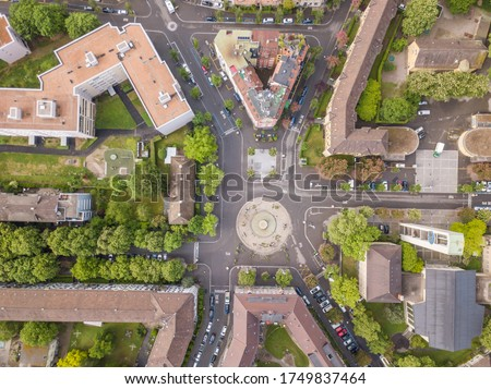 Aerial view of buildings and urban cityscape with streets in overhead view. Beautiful roof of urban housing. Zurich city in Switzerland in Europe from above. Stock fotó ©