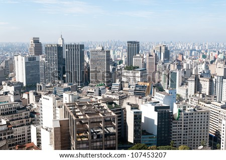 Aerial view of buildings close to the Anhangaba�º valley in the city of sao paulo.