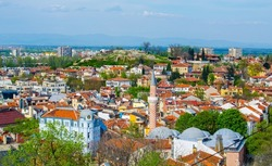 aerial view of bulgarian city plovdiv, which is famous for its old town and relics from ancient rome.