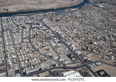 Aerial view of Bullhead City, Arizona and the Colorado River