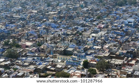 aerial view of Bundi, a city located in Rajasthan (India) at evening time - stock photo