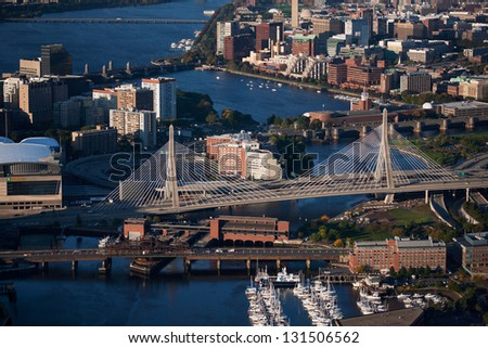 Aerial view of Bunker Hill Bridge over Charles River, Boston, MA
