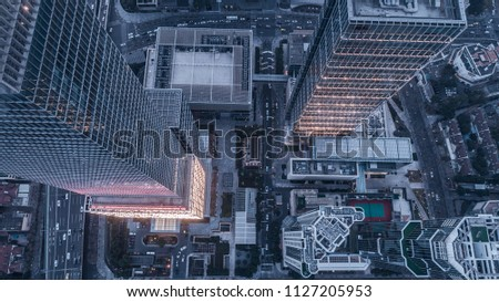 aerial view of business area in Nangjing Rd, Shanghai, China, at dusk #1127205953
