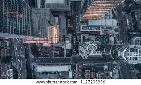 aerial view of business area in Nangjing Rd, Shanghai, China, at dusk #1127205956