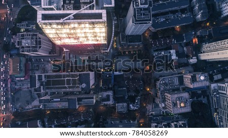 aerial view of business area in Nangjing Rd, Shanghai, China, at night #784058269