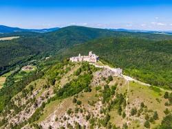 Aerial view of Cachtice castle, Slovakia. Famous medieval castle known from legends of bloody queen Bathory.