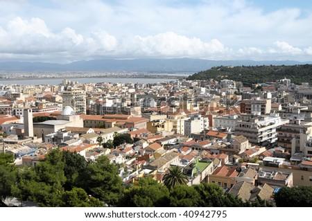 Aerial view of Cagliari Sardinia,Italy - stock photo