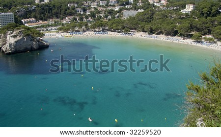 Aerial view of Cala Galdana beach at Menorca Island, Spain.  Beatiful blue water.