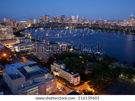 Aerial view of Cambridge and Boston's Back Bay