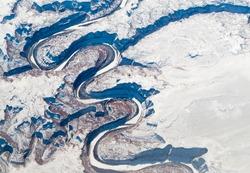 Aerial view of canyon, Alberta's Rockies, Canadian Rockies, Alberta, Canada