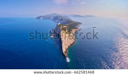 Aerial view of Cape of Ducato in Lefkada island- Greece #662581468