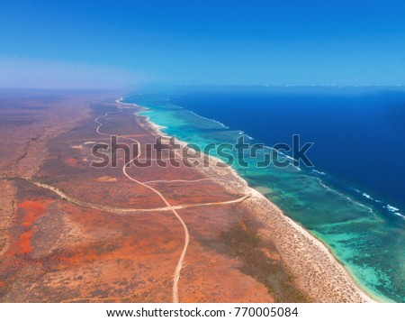 Aerial view of Cape Range National park and the Ningaloo Marine Park, Exmouth, Western Australia #770005084