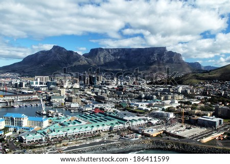 Aerial View of Cape Town and Table Mountain, shot from a helicopter.