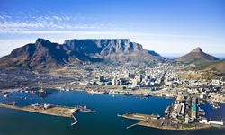 Aerial view of Cape Town city centre, with Table Mountain, Cape Town Harbour, Lion's Head and Devil's Peak