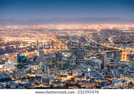 """stock photo aerial view of cape town from signal hill after sunset during the blue hour south africa modern 232395478 - Каталог - Фотообои """"Города"""""""
