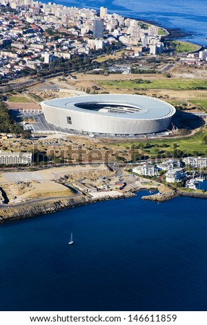 Aerial view of Cape Town Stadium and Green Point, South Africa