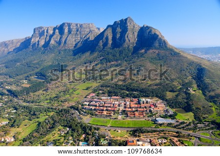 Aerial view of Cape Town University & Table Mountain, South Africa
