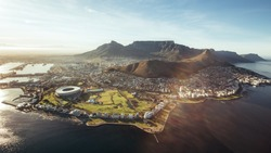 Aerial view of Cape Town with Cape Town Stadium, Lion's Head and Table mountain.