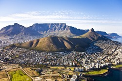 Aerial view of Cape Town, with Green Point and Sea Point, Table Mountain, Lion's Head, Signal Hill and Devil's Peak.