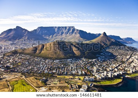 Aerial view of Cape Town, with Green Point and Sea Point, Table Mountain, Lion\'s Head, Signal Hill and Devil\'s Peak.