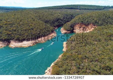 Aerial view of Capitolio's Lagoon with beautiful landscape. Capitolio, Minas Gerais, Brazil. Furnas's dam. Tropical travel. Travel destination. Vacation travel.