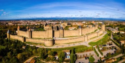 Aerial view of Carcassonne, a French fortified city in the department of Aude, in the region of Occitanie, in France