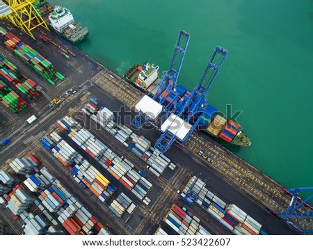 Aerial view of cargo ship, cargo container in warehouse harbor at thailand . #523422607