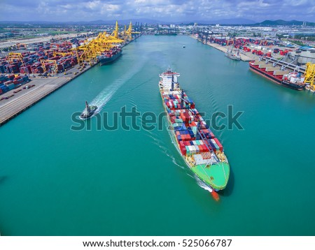Aerial view of Cargo ship With containers , Top view .