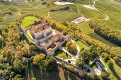 Aerial View of Castel Thun, gothic, medieval hilltop castle, Vigo di Ton, province of Trento, Italy
