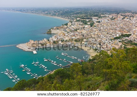 Aerial view of Castellamare del Golfo, Sicily in Italy