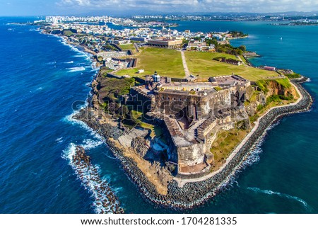 Aerial view of Castillo San Felipe del Morro in Old San Juan, Puerto Rico. The fort, also referred to as El Morro, was designed to guard the entrance to San Juan Bay.