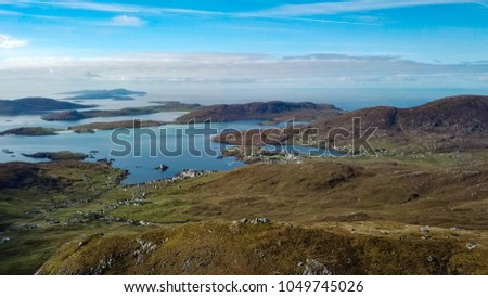 Aerial view of castle bay on the island of Barra in the outer hebrides