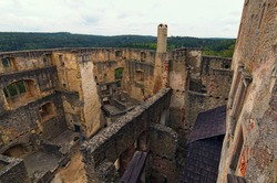 Aerial view of castle courtyard and ruins of Landstejn Castle. It is the oldest and best preserved Romanesque castle in Europe. Travel and tourism concept. South Bohemian, Czech Republic.