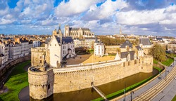 Aerial view of castle in Nantes in France