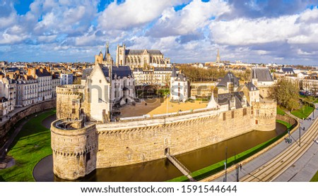 Aerial view of castle in Nantes in France Stock fotó ©
