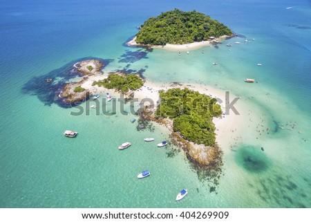 Aerial view of Cataguases Island in Angra dos Reis, Rio de Janeiro, Brazil. Stock foto ©