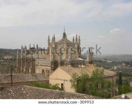 Aerial View of Cathedral in Toledo, Spain