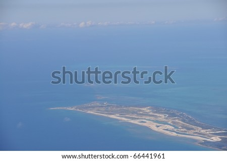 Aerial view of Cays, keys an coastline of Grand Bahama Island, Bahamas