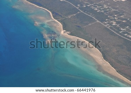 Aerial view of Cays, keys an coastline of Grand Bahama Island, Bahamas