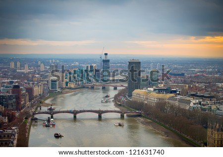Aerial view of Central London and Thames River at sunset. London, UK, GB, Europe.