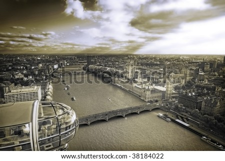 Aerial view of Central London, sepia toned