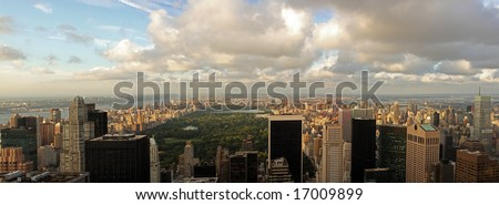 Aerial view of Central Park and midtown north Manhattan, Harlem, Bronx in New York City, upper west and east side, Washinton Heights, 5th Avenue #17009899