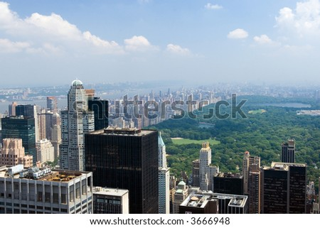 Aerial view of Central Park and West side from the above