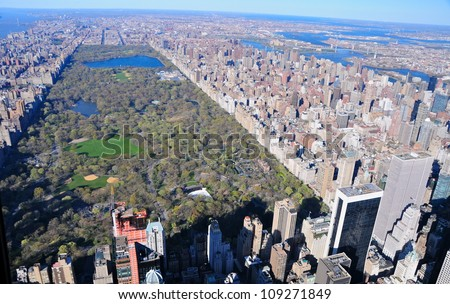 Aerial View of Central Park, New York, USA