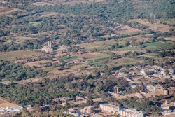 Aerial view of Champaner historical city, Gujarat state, India