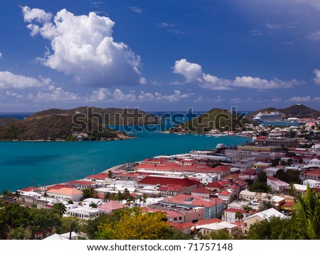 Aerial view of Charlotte Amalie Harbour in St Thomas in summer